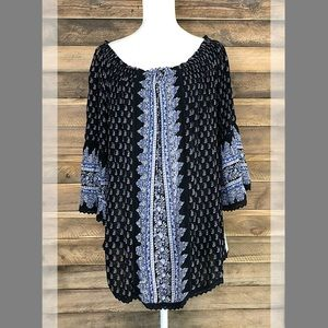 Hannah blue paisley print flowing tunic top